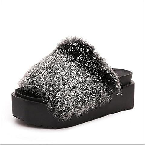 TDXIE Tempo libero-coniglio torta pesante di fondo Mao Maonv pantofole pantofole casa scarpe antiscivolo caldo in autunno e inverno 35 36 37 38 39 40 41 42 43 44 45 46 47 2 3 4 5 6 7 8 9 10 , snowflake black , 35