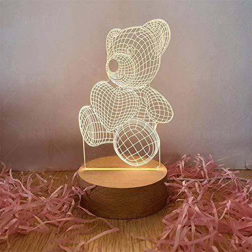Kreative nachtlicht led massivholz 3D tischlampe high-end Boutique elektronische Geschenke großhandel hungrig bär dreifarbige stecker Modelle (4 Watt)