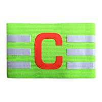 jianghang Serviceable Breathable Nylon Football Soccer Adjustable Elastic Captain Armband Elbow Exercise Health Care Kids(None green)