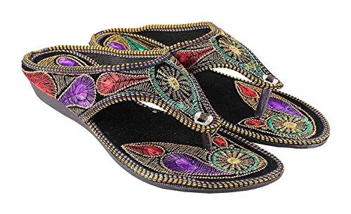 CraftCor-Womens-Multi-color-rajasthani-wedges-heels-slippers-designer-Zari-work