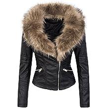 Designer Damen Winter Jacke elegant Kunstfellkragen Übergangsjacke S-XL D -362 2a48fdc515