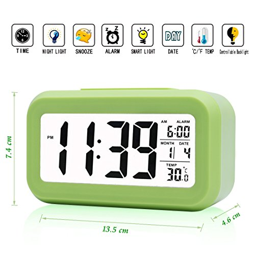 iprotect batteriebetriebener Digital-Wecker mit Extra großem Display, Snooze, Datumsanzeige, Temperatur und Lichtsensor in grün