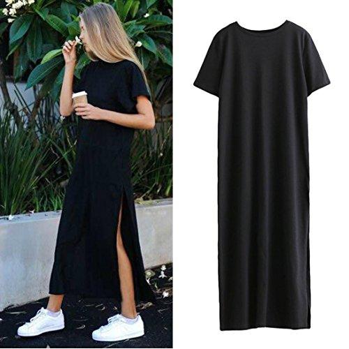 Gaddrt Women's Cotton Evening Thigh High Side Slit Dress Black S-XL