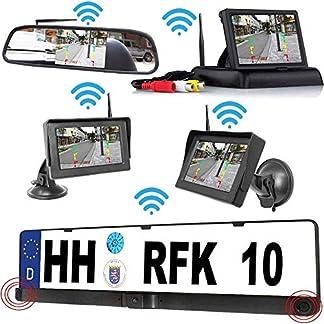 RFK-28-Parksensor-Kabellose-Funk-Rckfahrkamera-Bis-zu-5-Jahre-Garantie-Kamera-ist-bereits-integriert-in-der-Nummernschild-Halter-fr-Auto-Transporter-Wohnmobile-Bus-Car-Rear-View-Camera