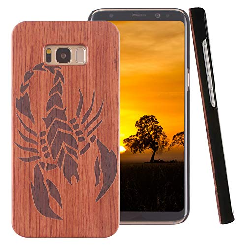 ZXK CO Galaxy S8 Holzhülle, Galaxy S8 Case gehärtetes Glas Displayschutzfolie, Non Slip Weiches Holz Phone Cover Slim Stoßstange Holzgehäuse mit harten PC für Samsung Galaxy S8-Skorpion