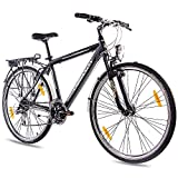 CHRISSON 28 Zoll City Bike Herrenrad INTOURI mit 24G ACERA schwarz matt Gabel: Zoom