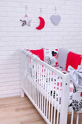 Amilian® Baby Bettwäsche Design42 Nestchen Bettset 100x135 für Babybett Decke Kissen Bettumrandung (Rote Baby-bettwäsche)