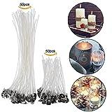 100 Stück Flachdocht Kerzendocht für Kerzenherstellung, Kerze DIY Vorgewachste Dochte 2 Größe (90 mm und 200 mm)
