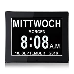 aluminiumlegierung metall 8 zoll digitaler wecker digitale kalenderuhr f r ernste demenz der. Black Bedroom Furniture Sets. Home Design Ideas