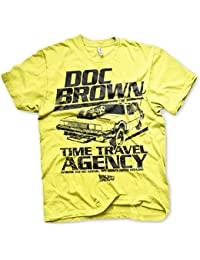 Officiellement Sous Licence Doc Brown Time Travel Agency Hommes T-Shirt (Jaune)