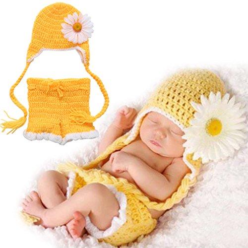 Neugeborenen Kostüm Sonnenblumen - Xurgm Sonnenblume Neugeborenen Fotoshooting Kostüm Junge Mädchen Mützen Fotographie Prop Crochet Geschenk Baby Kleidung