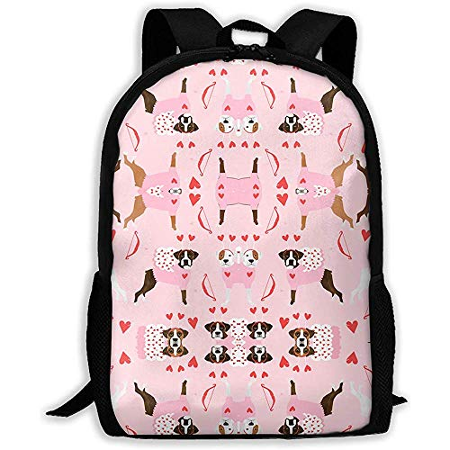 Leichter Laptop-Rucksack,Freizeitrucksack,Outdoor-Tagesrucksäcke,Reise-Tagesrucksack für Erwachsene/Kinder,Print-Schultertasche Boxer Love Bug Cupid-Kostüm Hunderasse-Stoff Pink für Männer (Cupid Kostüm Männer)