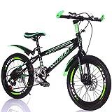Bike 7 Velocidad Bicicletas Infantiles de Montaña 18pulgada 20pulgada Bici,Niño y Niña BMX Freestyle, Green,18inch