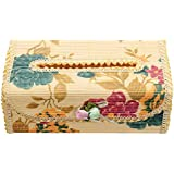 KING DO WAY Tissue Box Napkin Cover Toilet Paper Case Holder Bamboo Handmade Flower Decor Florals 22x11x10cm