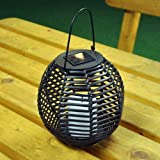 Garden Mile® Solar Powered Night Light Rattan Style Hanging Solar LED Candle Lantern Stylish Garden Lights Night Time Patio Mood Lighting solar garden lantern Garden Lighting.