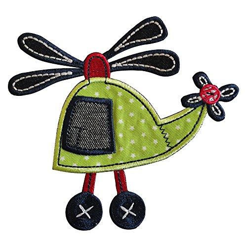 Hubschrauber 11X11cm Aufbügler Flicken Stoff Patch Kleider Aufnäher Bügelbild zum Bügeln auf Decke Hosen Fahne Hemd Kleider Kappe Rock Turnsack Halstuch Wimpel Rucksack Tasche Hut Schal Jeans Jacke K
