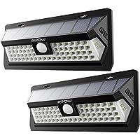 Mpow 62 LED Sensor de Movimiento Luz Solar, Luz de Pared Brillante, Panel Solar Grande, 120° Ángulo de Detección, 3 Tiempo de Iluminación del Sensor Ajustable, Resistente a la Intemperie, Gran Luz Exterior para Jardín, Calzada, Cercado, Garaje, Camino y Patio (2 Unidades)