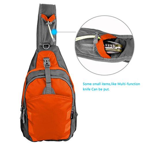 Schleuder Tasche Chest Pack,Multiple Storage Zweck Umhängetasche Tragen Styles,für Outdoor Sportarten Reisen nylon fabric multied-colored, by LC Prime Largr-Orange