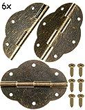 fuxxer®–6x Antiguo bisagras | Bronce Hierro Diseño | para armarios Armario de puertas Baúles Cajas latas en el país de Vintage de casa estilo retro, 56x 42mm–Juego de 6