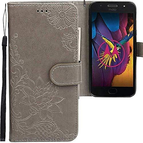 CLM-Tech Motorola Moto G5S Hülle, PU Leder-Tasche mit Stand, Kartenfächern, Blumen grau, Lederhülle für Motorola Moto G5S
