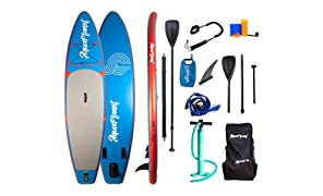 "AQUAPLANET 10ft 6"" x 15cm PACE Stand Up Paddle board kit.Air Pump With Pressure Gauge,Adjustable Aluminium Floating Paddle, Repair Kit,Heavy Duty Rucksack,Premium Leash & 4 Kayak Seat Rings"