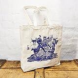 Maritime Einkaufstasche Tasche Baumwolle Stoff blauer Druck