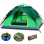 Green Hydraulic Backpacking Tent, Automatic Pop Up Tent, Camping Double Layer Tent, with Carry Bag for 3-4 Persons