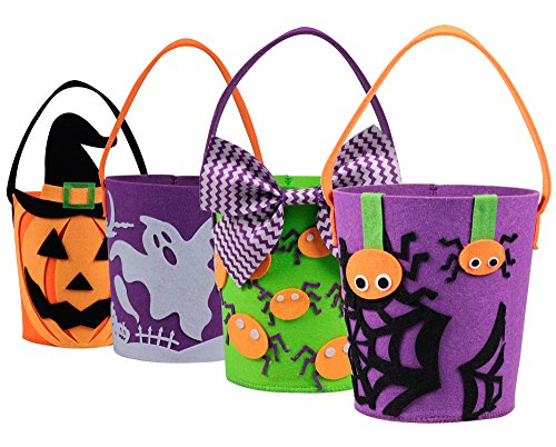 Halloween Eimer Korb Trick or Treat Taschen Set von 4 Filz Goody Körbe für Kinder Kleinkinder Jungen Mädchen von Art Beauty (Halloween-korb)