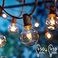 Guirlande Lumineuse Exterieure avec 16.6 Mètre 60 Ampoules,OxyLED G40 Guirlande Guinguette Extérieur,étanche IP44, E12 Base Pour Patio Jardin Extérieur Lumières de Guirlande,Blanc Chaud