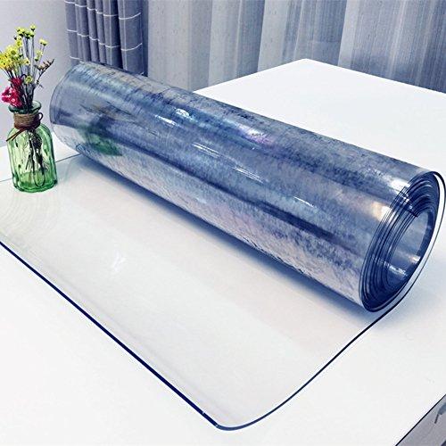 SANDM Tovaglie di plastica in pvc trasparente, Vetro morbido trasparente Tovaglia resistente all'acqua Oblonge tovaglia Tabella di copertura superiore-1.5mm 90X140cm(35x55inch)