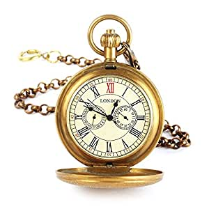 YESURPRISE Classic Steampunk Vintage Full Hunter Hand-winding Mechanical Pocket Chain Watch Gift #6