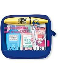 Maybelline - Summer kit idéal pour le voyage - Trousse + Mascara colossal 100 % noir + blush dream fresh abricot + dissolvant ongle + eye make remover