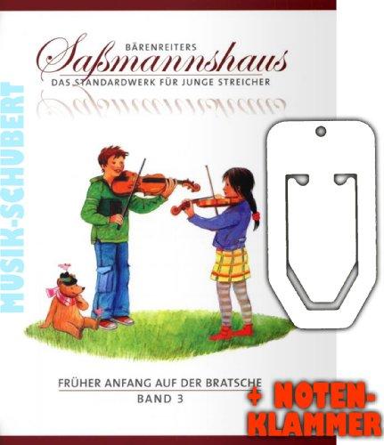 Früher Anfang auf der Bratsche Band 3 inkl. praktischer Notenklammer - Frühes Duospiel - Das Standardwerk für junge Streicher ab 4 Jahre mit zahlreichen Spielstücken für 2 Bratschen (broschiert) von Egon Saßmannshaus (Noten/Sheetmusic)