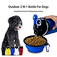 UHAPEER Portable Pet Water Bottle and Food Bottle 2-in-1 with Foldable Dog Travel Bowl, Pet Drinking Bottle Travel Water Drink Bottle Walking Dog (Blue)