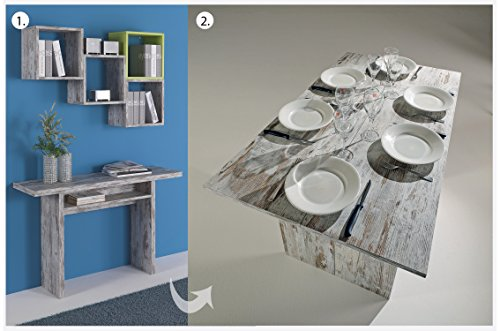 Moderno 2en 1Retro extensible mesa de comedor 100% hecho en Italia consola extensible cuadros multifunción cocina