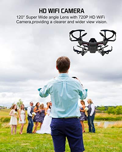 Potensic Drone con Telecamera D20 Drone WiFi Funzione di Sospensione Altitudine Allarme della Scarica e Fuoricampo modalità Senza Testa e HD Adatto per Principianti, Buon Regalo per Bambini - 2
