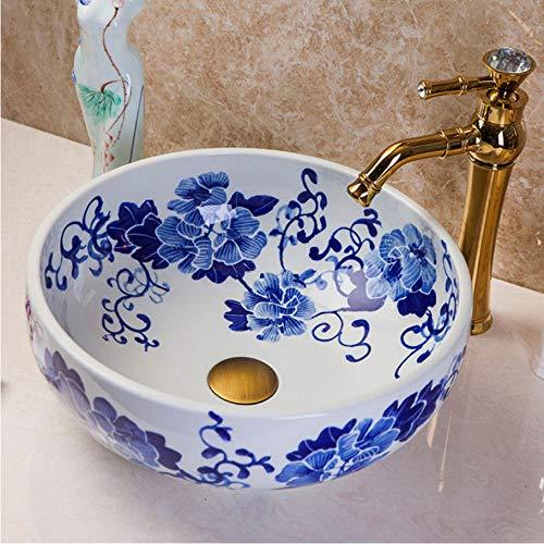 LLLYZZ Grün Lotus Malerei China Künstlerische Handarbeit Keramik Bad Sinkt Rund Zähler top keramikspülen Becken (Armaturen Einzelne Wanne)