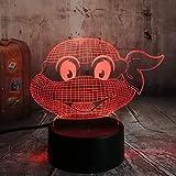 Luce Notturna Illusione Ottica Figura Adolescenziale Mutant Ninja Turtles Atmosfera Moderna 3D Lampada Visiva Notte Luce Led Camera Da Letto Decorazione Matrimonio Regalo