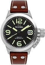 TW Steel Unisex reloj infantil de cuarzo con esfera analógica y negro correa de piel TW945