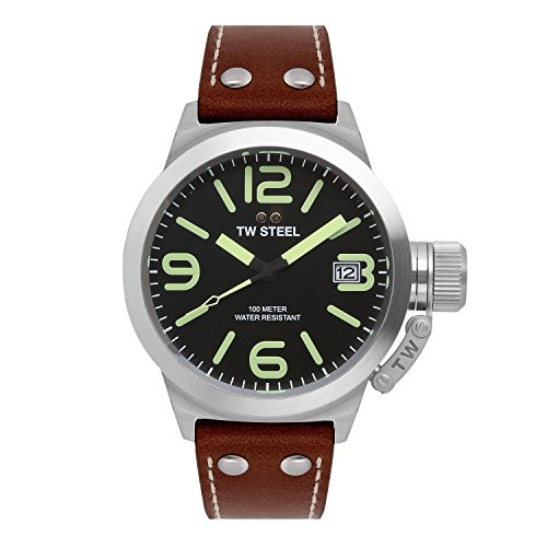 tw-steel-unisex-quartz-watch-with-black-dial-analogue-display-and-brown-leather-strap
