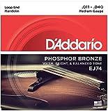 D\'Addario Cordes pour mandoline D\'Addario J74, bronze phosphoreux, Medium, 11-40