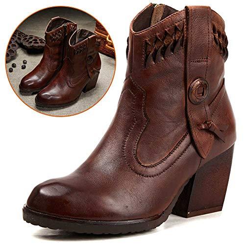 Shoe house Leder Chelsea Ankle Boots Satirical Women es Western Boots Handmade High Heels Black Brown Size 3-6.5,Bbrown,EU37/US6.5B(M)/UK4.5 -