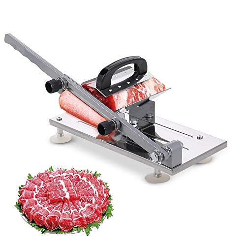 Decdeal Gefrorener Fleischhobel Rindfleisch Lamm Allesschneider Edelstahl Schnittfleischstärke für Gemüse und Fleischscheiben Einstellbar