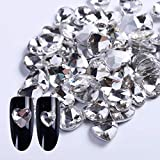Veena 10Pcslot 8Mm 10Mm Glass Heart Shaped Nail Rhinestone For Nails Clear Crystal White Charms Nail Art Decoration...