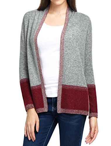 Allegra K Damen Kaschmir Kontrast Farbe geflochten Cardigan Sweater, Grau/L (Geflochtener Cardigan)