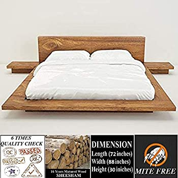 Bed Voor Kind.Ganpati Arts Premium Collection Matured Sheesham Wood Low Height Queen Size Bed Cot For All Kind Of Mattress With 2 Bed Side Cots For Living Room