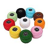 Kurtzy Fil pour Crochet - Fil à Tricoter 10 pièces - Fil de Coton pour Crochet 20 Grammes/195 Mètres - Fil pour Crochet avec des Couleurs Assorties pour projets, couvertures, Gants et appliqués...