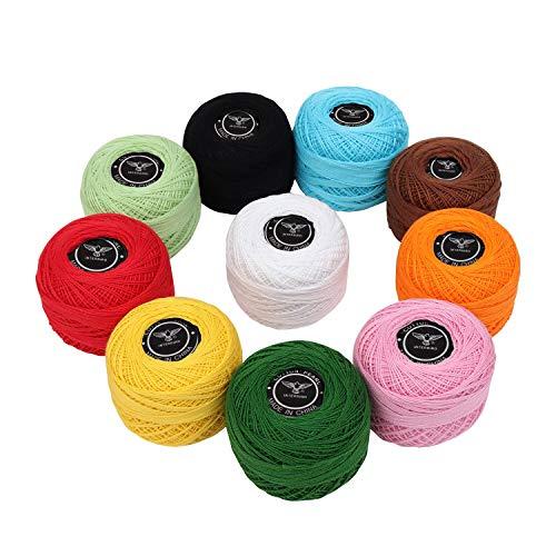Kurtzy filato uncinetto (10 pezzi) - cotone uncinetto 20 grammi/195 metri- filati uncinetto colori assortiti per progetti, coperte, guanti e applique