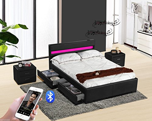 Exclusive Harmin Designer Music Bed, Bluetooth, Speakers, LED Colour Changing Faux Leather Bed Frame with Remote for LEDs (King 5ft, Black)