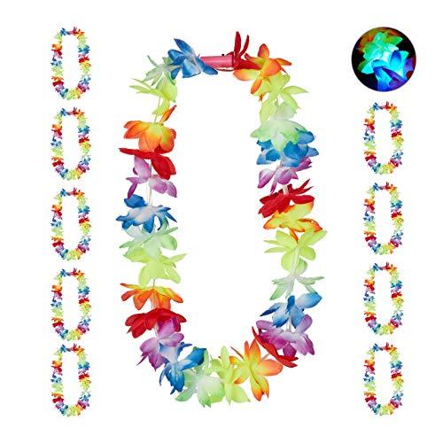Relaxdays 10024365 Hawaiikette mit LED, 10er-Set, Leuchtende Blumenketten für Fasching, JGA u. Strandparty, Hula Ketten, bunt, Unisex- Erwachsene
